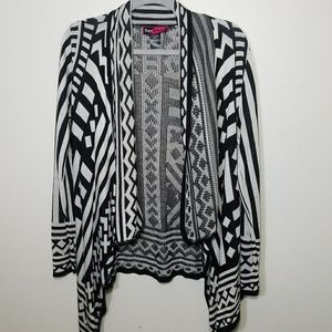 black and white open Aztec tribal cardigan